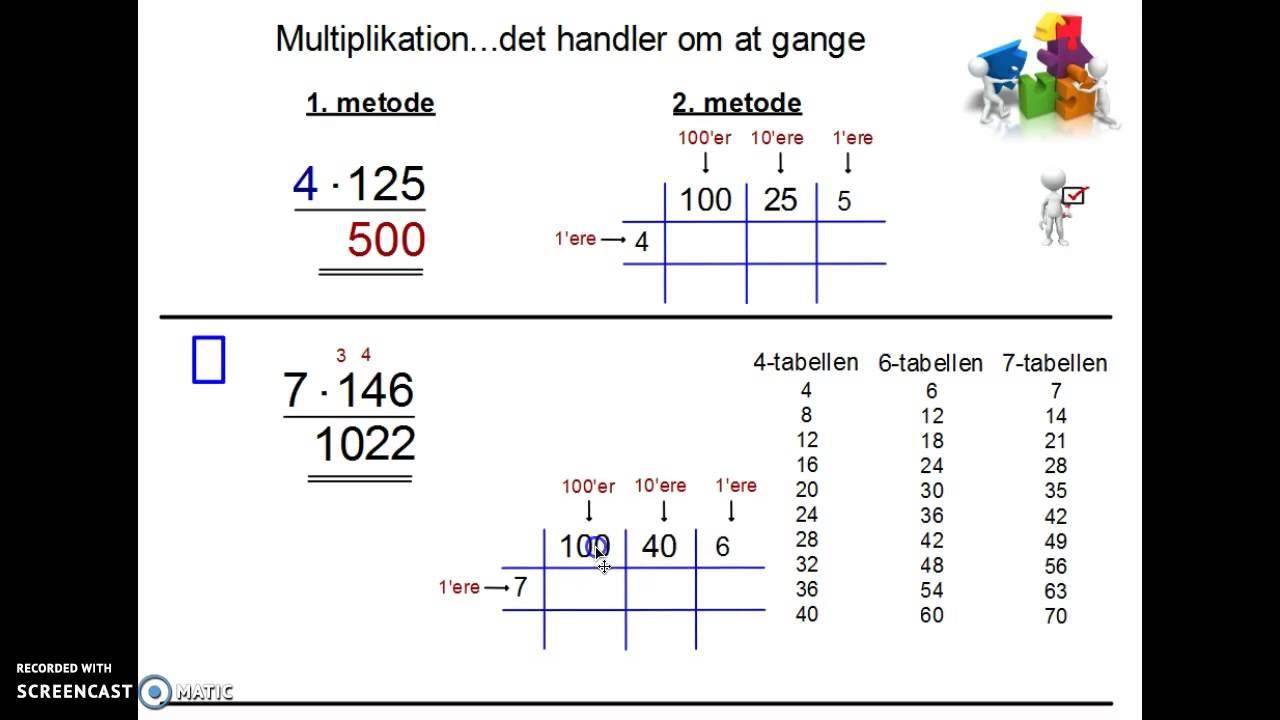 Multiplikation - 2 metoder - etcifrede gange trecifrede