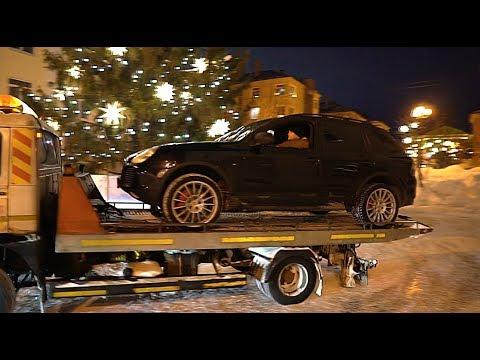 Дрифт вокруг Новогодней ёлки. Porsche Turbo S. Монстр 16.
