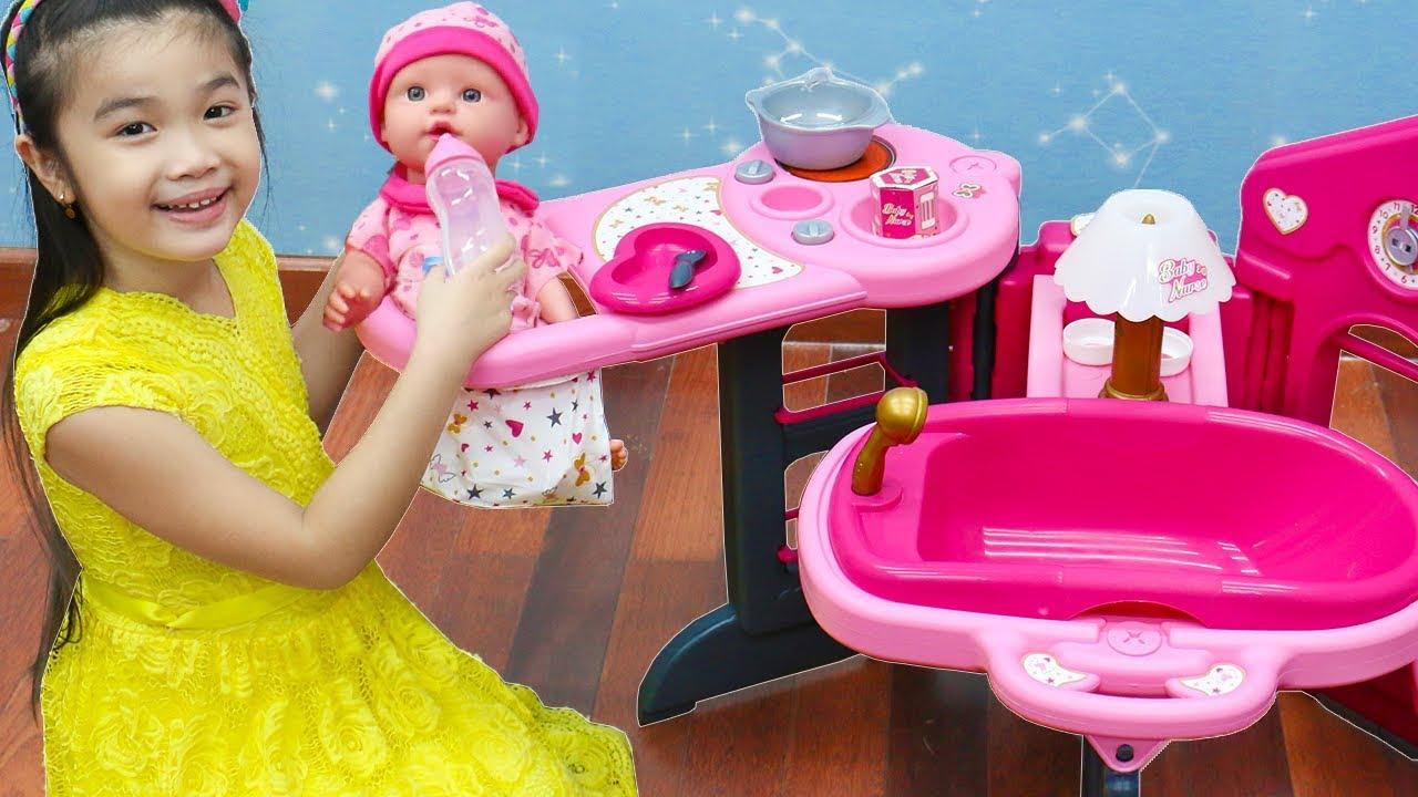 Download Hana Pretend Play w/ Pink Baby Nursery Doll Kids Toys