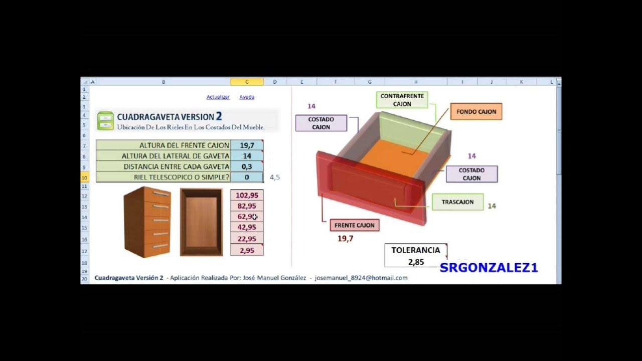 Calcular la altura de los rieles de gaveta en muebles for Medidas para mueble de computadora