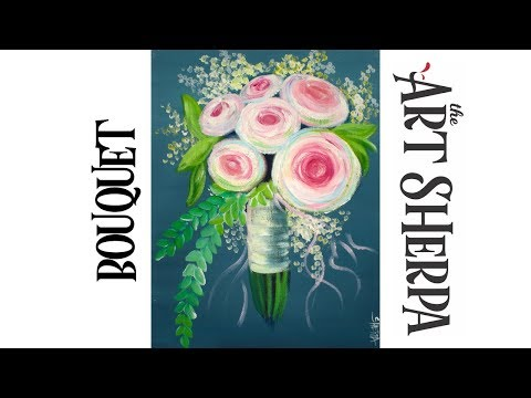 How to paint with Acrylic on Canvas EASY Bouquet Flowers