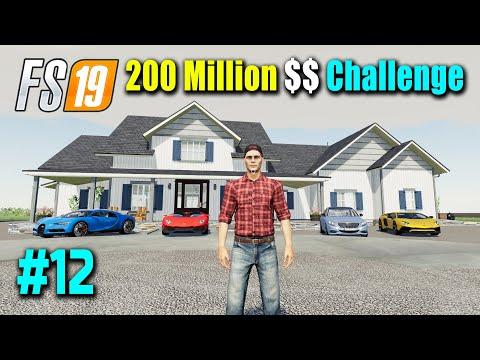 I Build Luxury Farmhouse, 200 Million Dollar Challenge Part 12, FS19 Nebraska Map