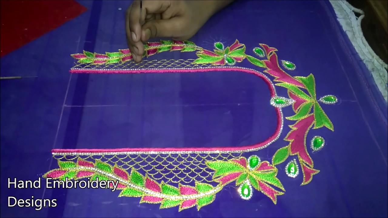 Simple Maggam Work Blouse Designs Hand Embroidery Designs Simple Aari Work Designs Youtube,Simple Home Furniture Design Hall