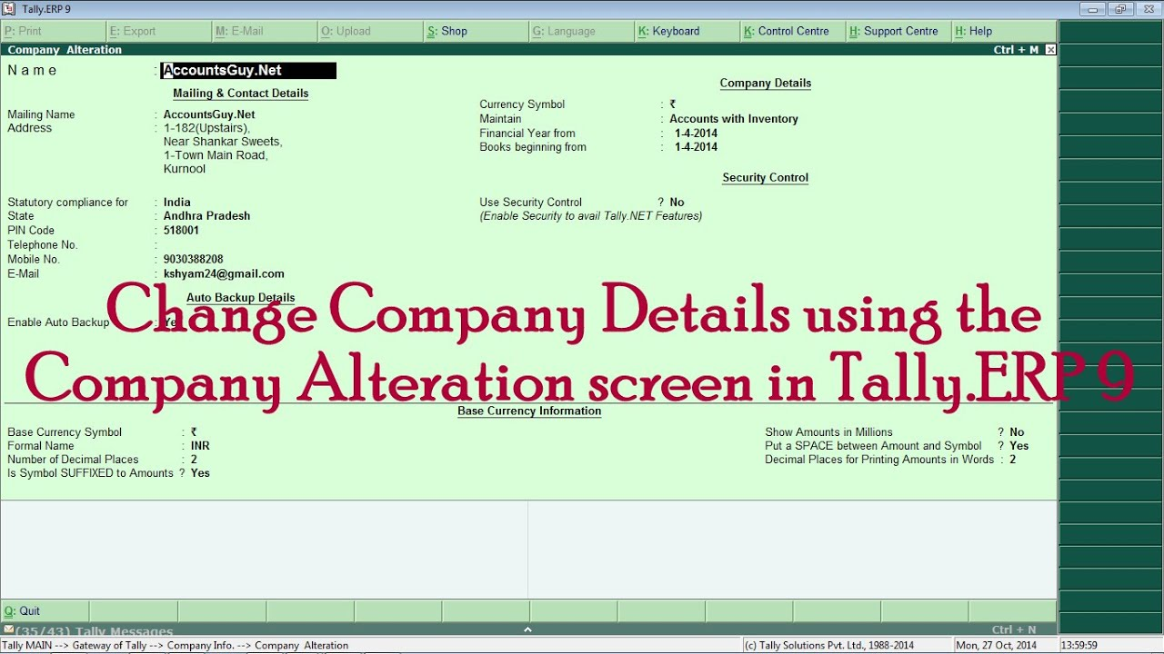 1c69134859fa6 How to Alter Company address and other details in Tally.ERP 9? - YouTube