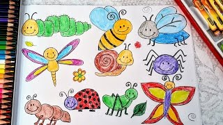 Insects coloring for kids -  Butterfly, dragon fuly, bee, fly, spider, lady bug...
