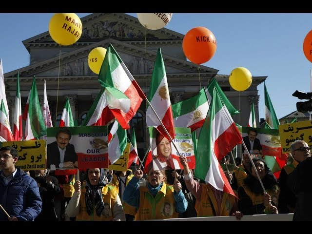 MEK supporters march on the streets of Munich to denounce Javad Zarif's presence at #MSC2019