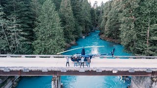 Helicopter Landing at Secret Hot Springs - Beautiful BC, Canada