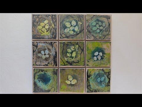 """Alice-ART Gelatine-Druck """"Vogelnester"""", Gelli Print """"Bird Nests"""""""