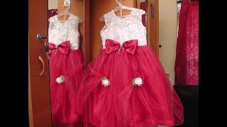 KIDS PRINCESS CUT FANCY  PARTY WEAR NET FROCK CUTTING AND STITCHING PART - 2