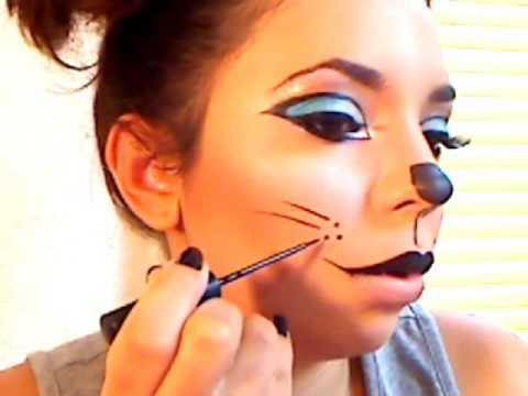 Kitty cat! (halloween makeup) - YouTube