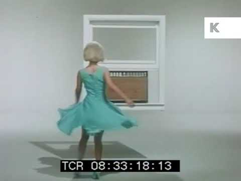 1960s Woman Dances Around Air Conditioner, Vintage Advert, Consumerism