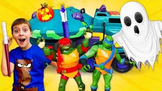 Черепашки Ниндзя получили новый джип! Видео про машинки и игрушки - Крутой Хэллоуин с привидениями!
