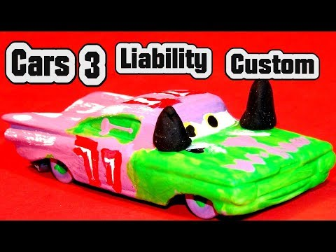 Disney Pixar Cars 3 Custom Liability Demolition Derby Crazy 8 Race Cars and Primer Lightning McQueen
