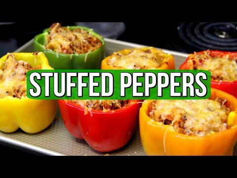 Easy + Healthy Ground Turkey And Rice Stuffed Bell Peppers!