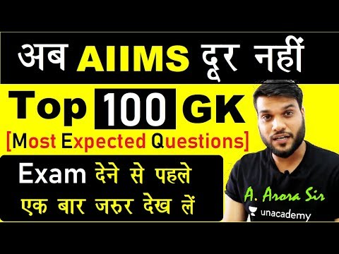 100 Expected GK Questions मात्र 40 min में for AIIMS 2018