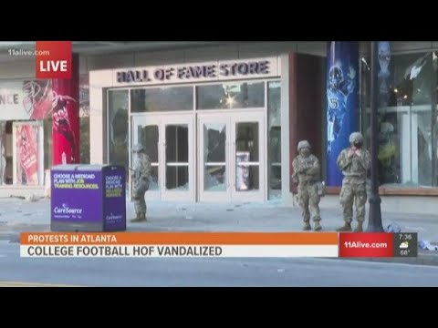 College Football Hall of Fame damaged by protesters