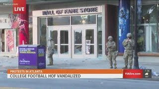 College Football Hall Of Fame Vandalized By Protests