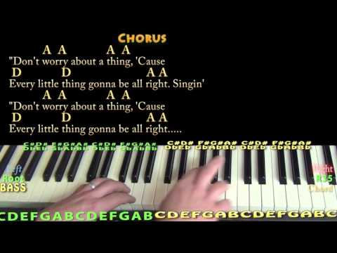 Three Little Birds (Bob Marley) Piano Cover Lesson with Chords/Lyrics