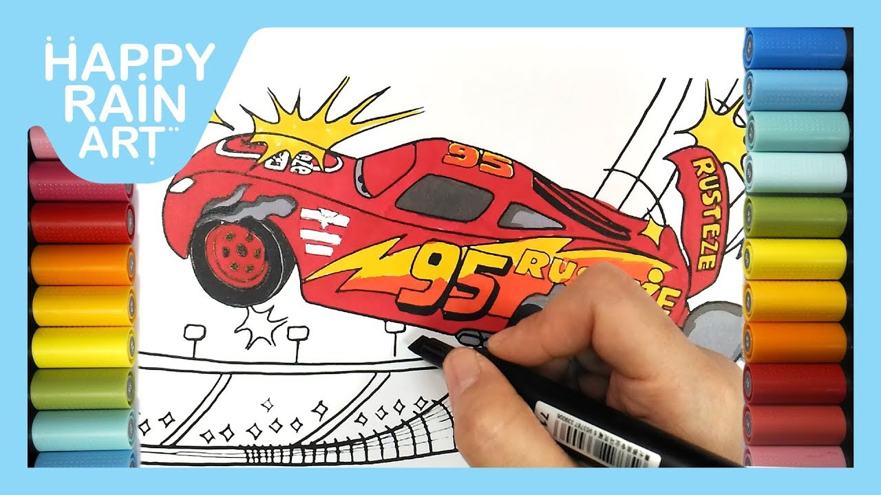 How to color CARS 3 LIGHTNING McQUEEN CRASH SCENE | Easy step-by ...