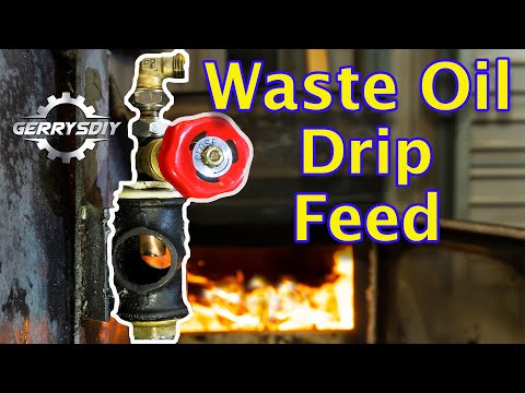 Close up view of the drip feed system on this homemade waste oil burner. This oil drip feed system really makes an Awesome amount of heat for as little as 2 ...