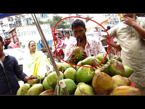 HEALTHY STREET FOODS|Fruit Market Worker Street Food-Fresh Coconut Water