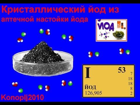 Получение кристаллического йода из аптечной настойки йода.
