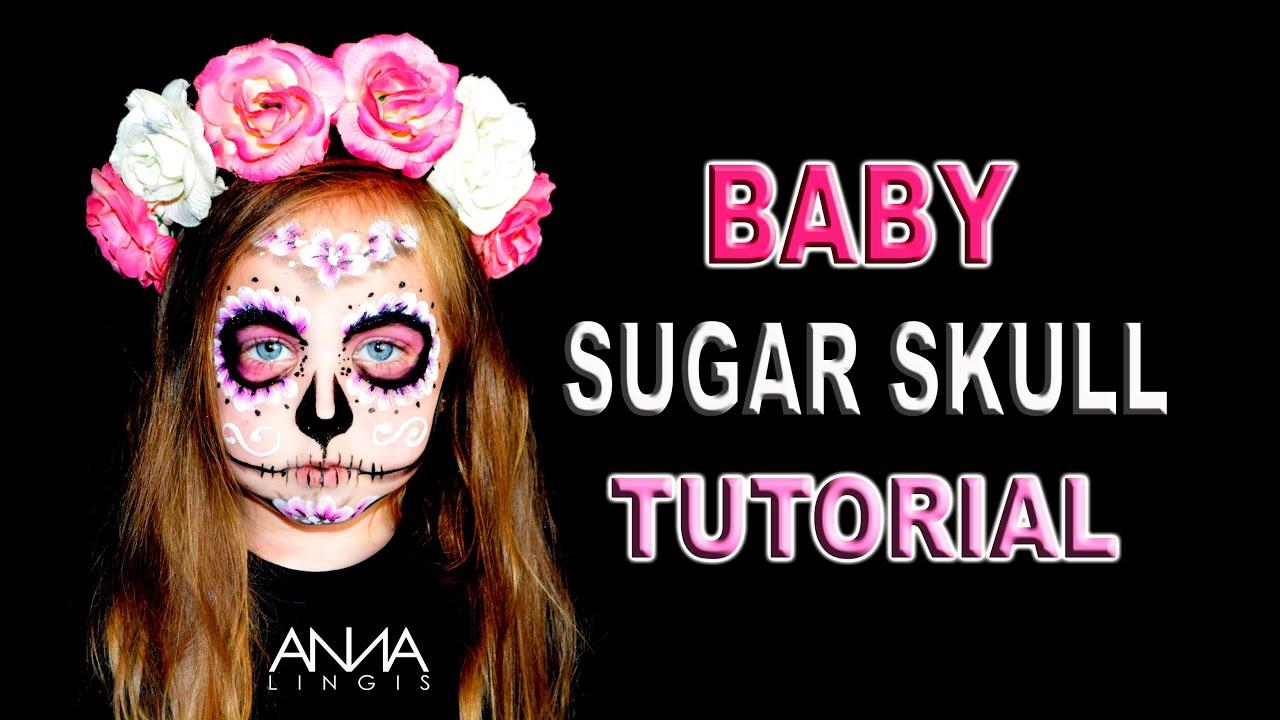 Baby Sugar Skull Face Paint Tutorial - YouTube