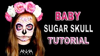 Baby Sugar Skull Face Paint Tutorial
