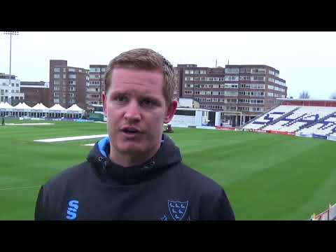 Ben Brown speaks after making a century on day one of the match against Loughborough MCCU