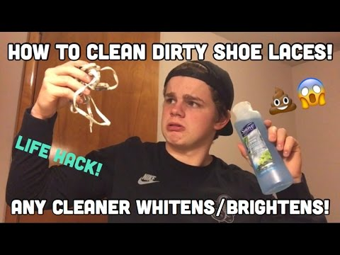 HOW TO CLEAN SHOE LACES WITH ANYTHING! (Life Hack)
