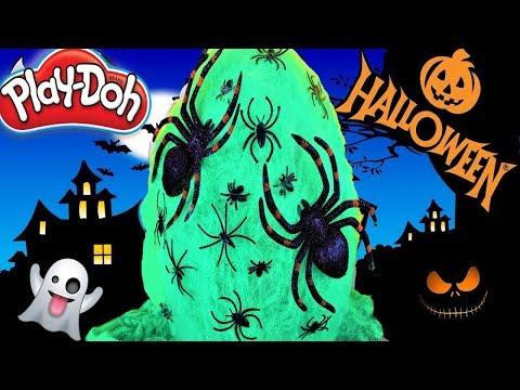 Huevo Sorpresa Gigante de Arañas de Halloween de Plastilina Play doh en Español Tela de araña verde