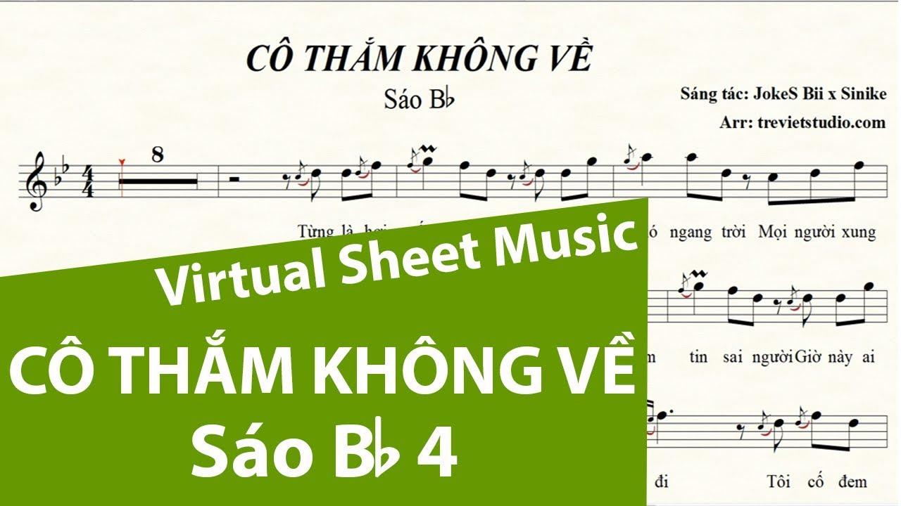 CÔ THẮM KHÔNG VỀ ★ Sheet nhạc Beat Lyrics | Sáo trúc Bb4 | Virtual Sheet Music #trevietstudio