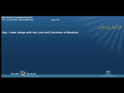 Quran English Yusuf Ali Translation 114 الناس An Naas MankindMeccan