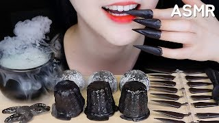 *LOUD* BLACK FOOD ASMR EDIBLE NAILS, EDIBLE SPOONS, ICE CREAM MOCHI, CANELÉS ASMR
