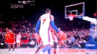 carmelo anthony clutch game winning three pointer in ot against the bulls 08 04 2012