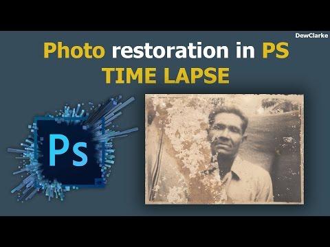 Photo restoration in Photoshop CC (Time Lapse)
