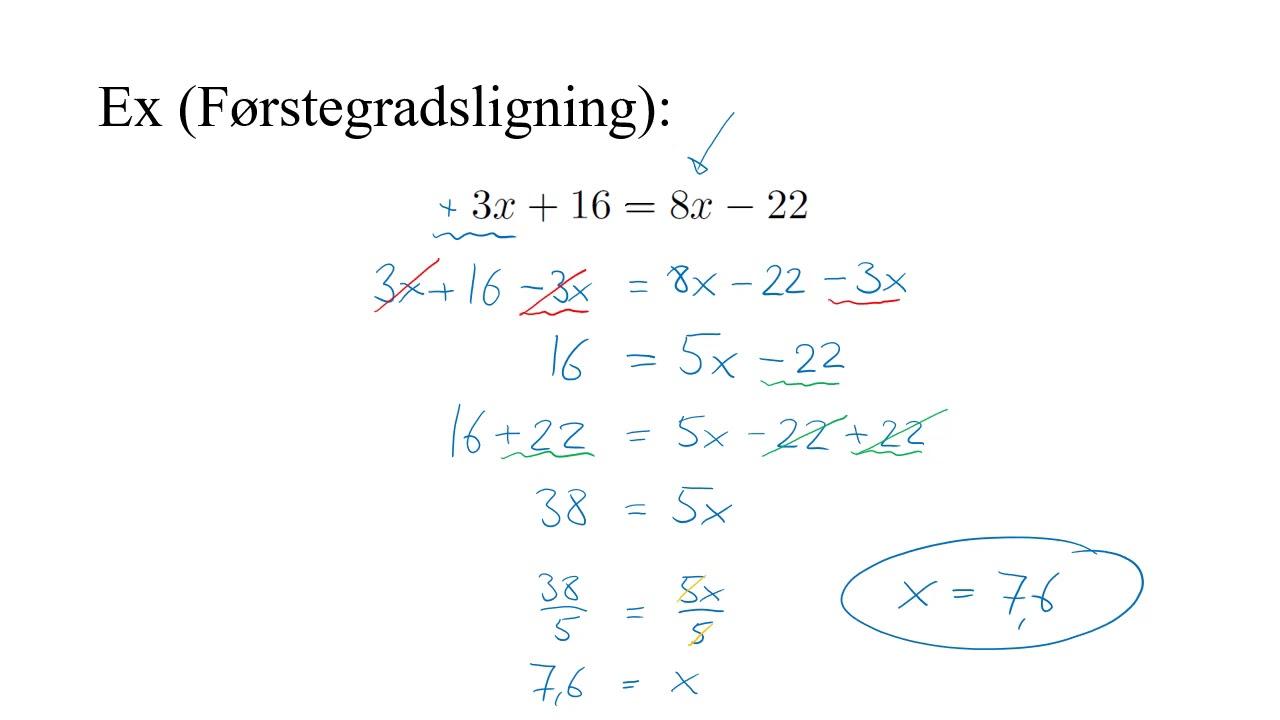 Algebra. Førstegradsligninger.
