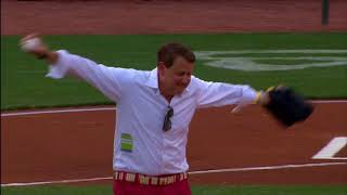 Chuck Hellman and Son Throwing Opening Pitch at Cincinnati Reds Game