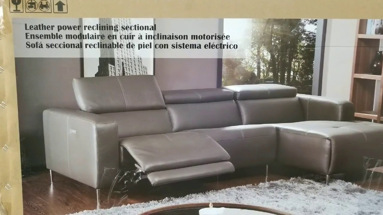Costco Leather Power Reclining Sectional Modern 1 399 Youtube