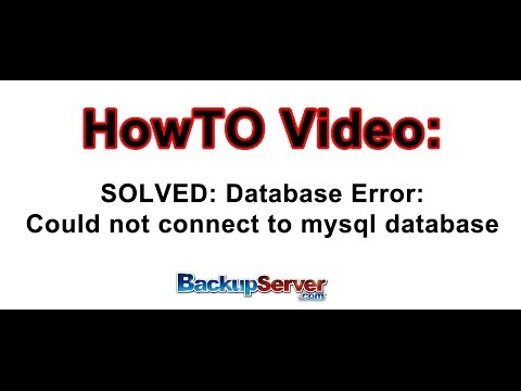 SOLVED - Database Error: Could not connect to mysql database - UPDATED May 2016