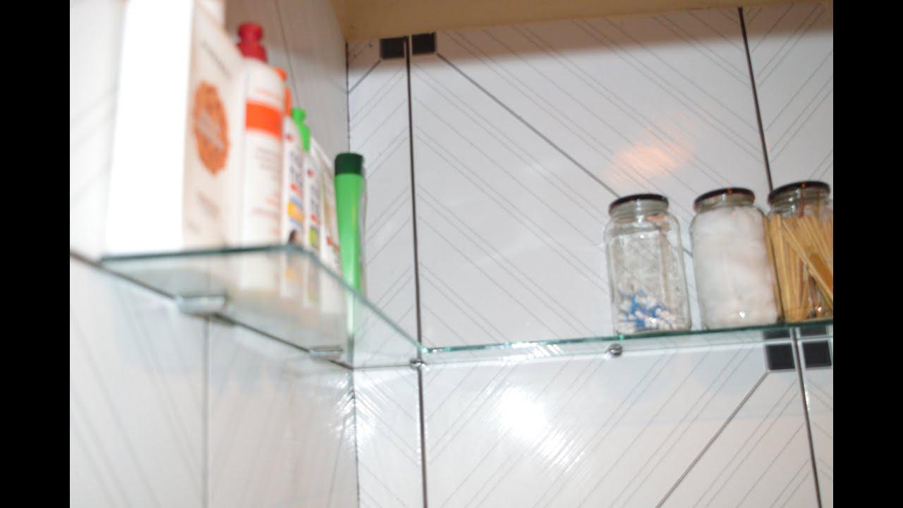 PRATELEIRA DE VIDRO PARA BANHEIRO PEQUENO  YouTube -> Lixeira Banheiro Pequeno
