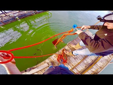 MAGNET FISHING OFF A DOCK WITH TWO 500LB PULL MAGNETS!!! HONEY HOLE