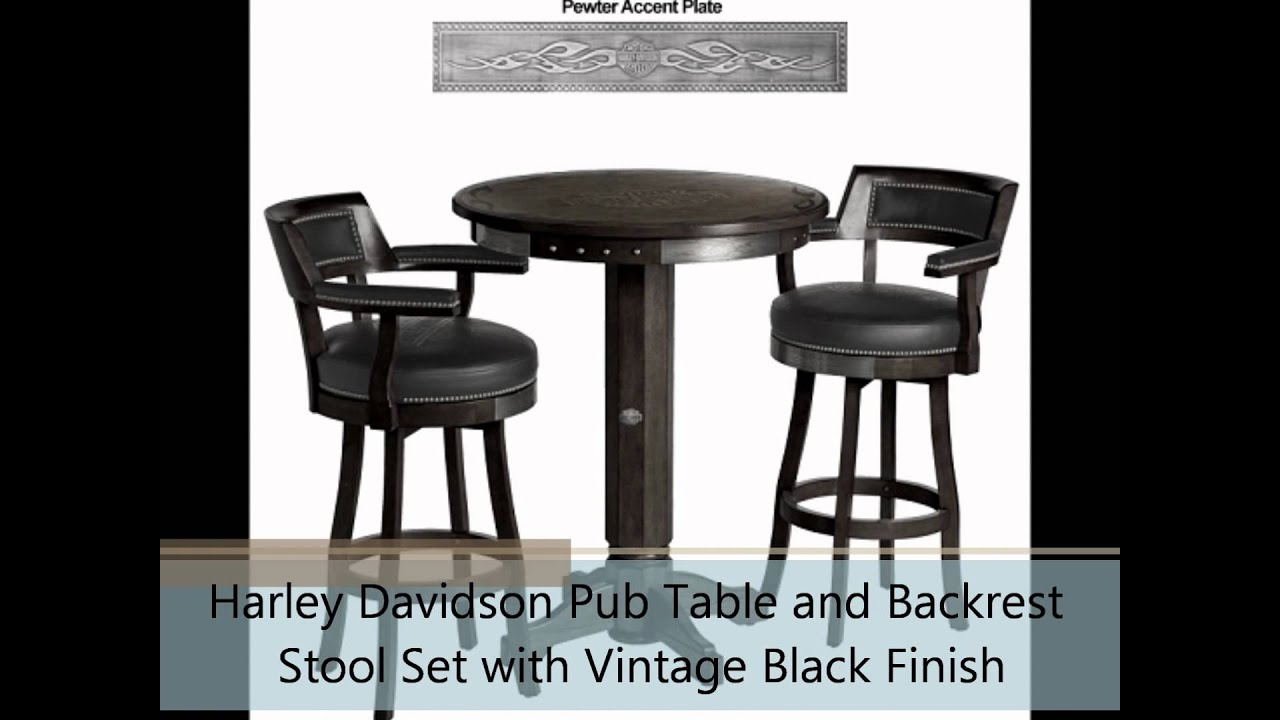 Harley Davidson Pub Table And Backrest Stool Set With