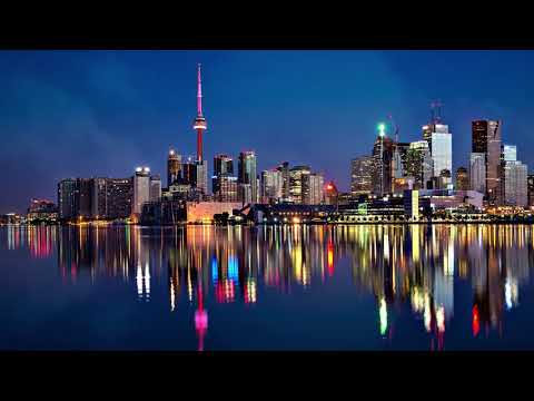 ► FREE Video Background Loop Footage | HD 1080p 60Fps | Colorful Canada-Toronto Skyline  #0125 ◄