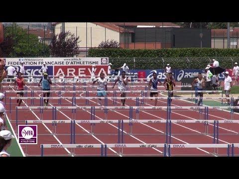 Albi 2015 : Finale 110 m haies Cadets (Karly Maisonneuve en 14''08)