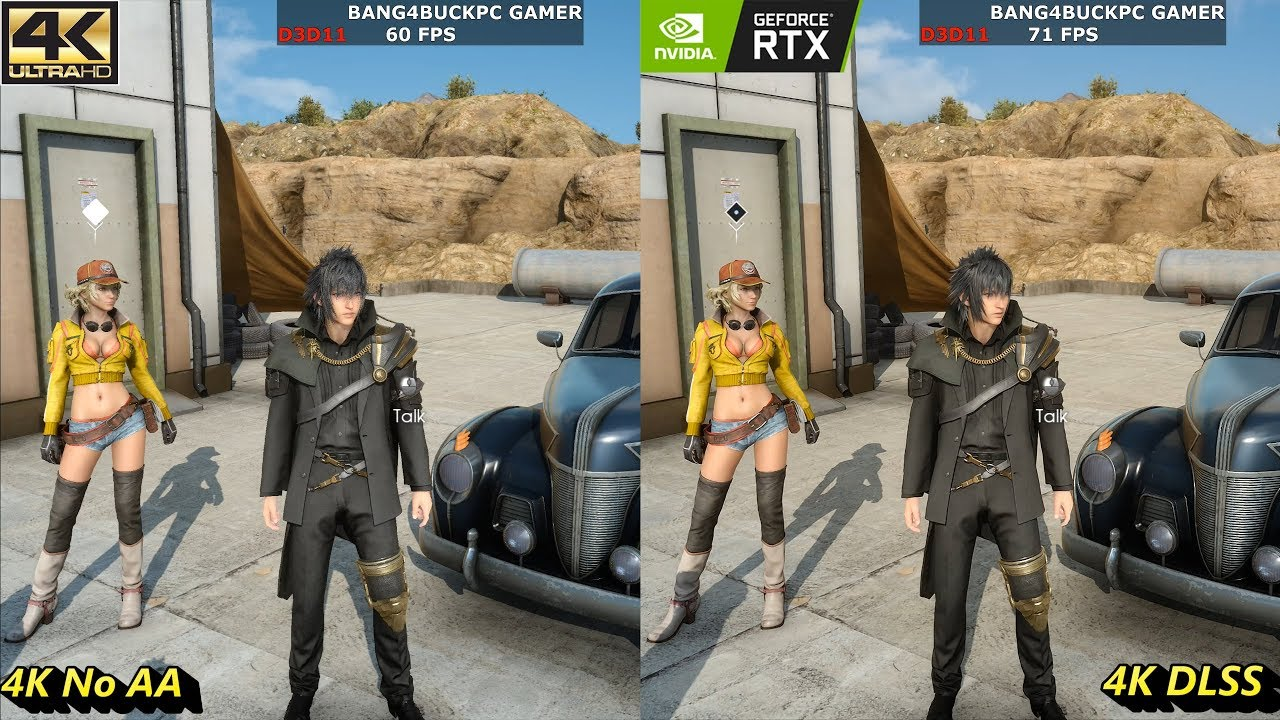 Final Fantasy XV Max Settings 4K No AA VS DLSS   RTX 2080 Ti   i7 8700K  5 3GHz