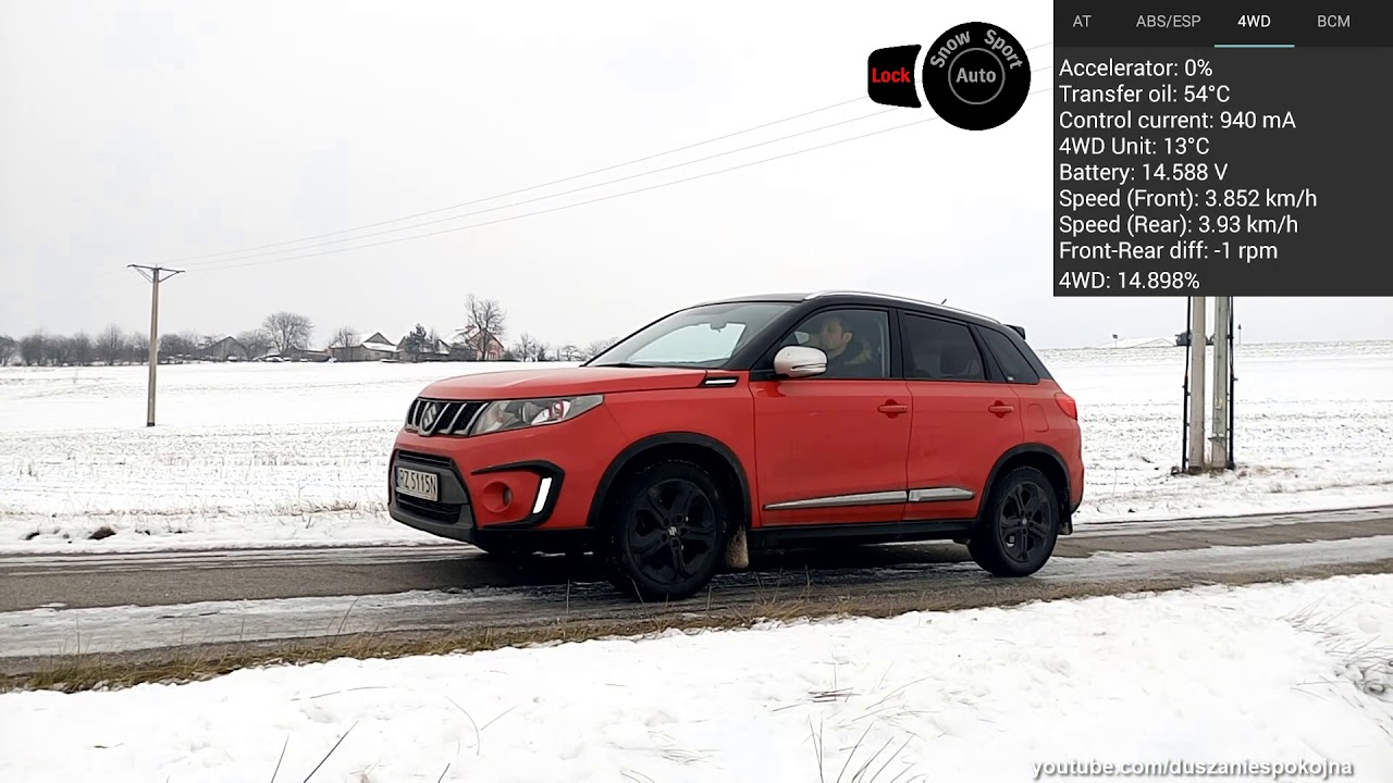 SNOW vs LOCK vs AUTO - Suzuki Vitara 1 4T All Grip on ice & snow - 4WD  control