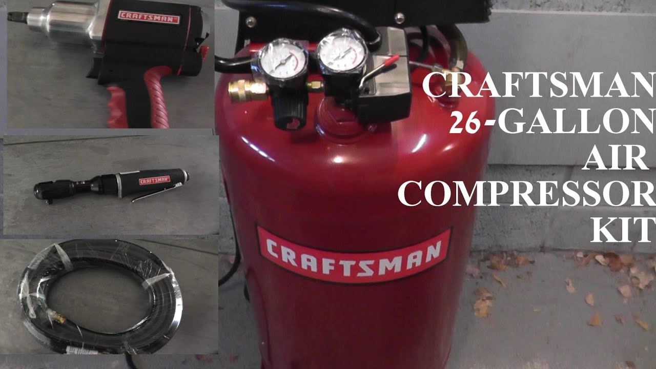 Craftsman 26 Gallon Air Compressor WITH TOOL KIT HD YouTube