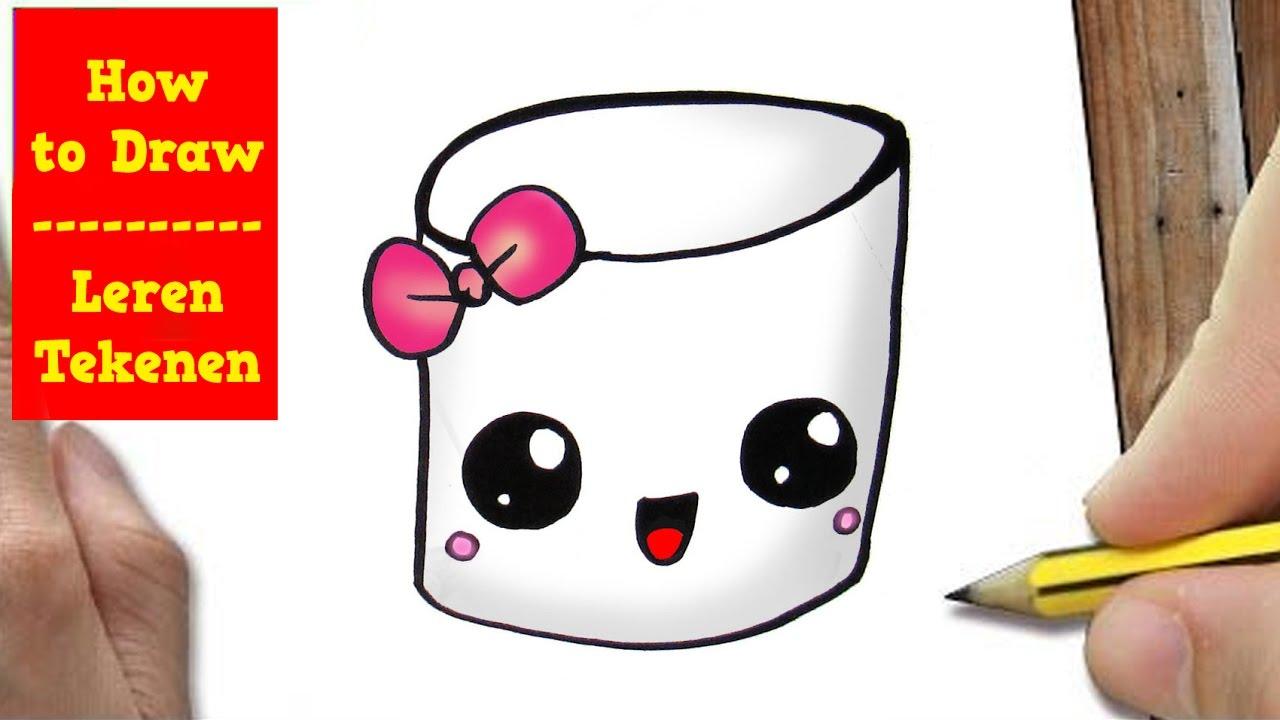 Hoe Teken Je Een Marshmallow Super Schattig How To Draw