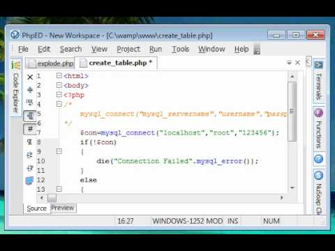 Php tutorials 19 creating table in mysql database using for Table design using php